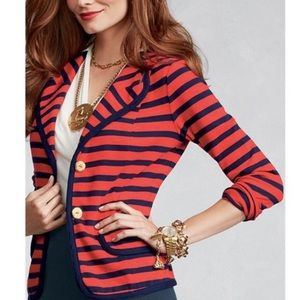 Cabi Red snd Navy Striped Knit Cotton Blazer
